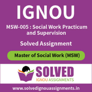 IGNOU MSW 5 Solved Assignment