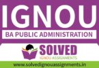 IGNOU BA Public Administration Solved Assignment