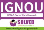 IGNOU MSW 6 Solved Assignment
